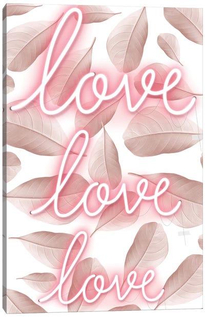 Love Pink Neon Light Canvas Art Print