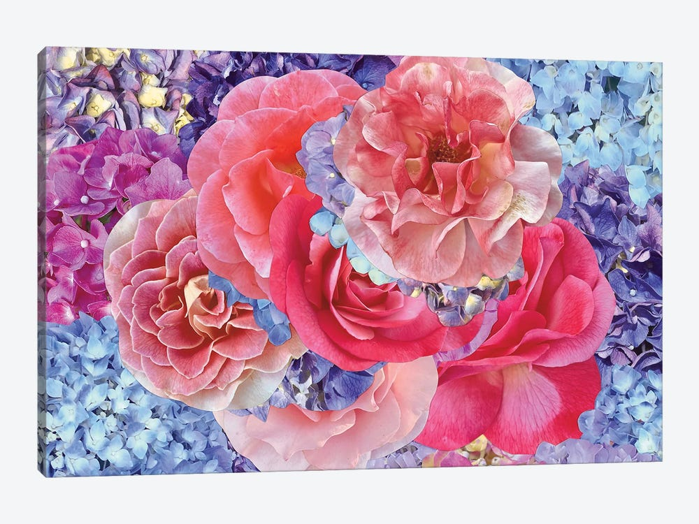 Hydrangeas with Roses by Kat Kleinman 1-piece Canvas Wall Art
