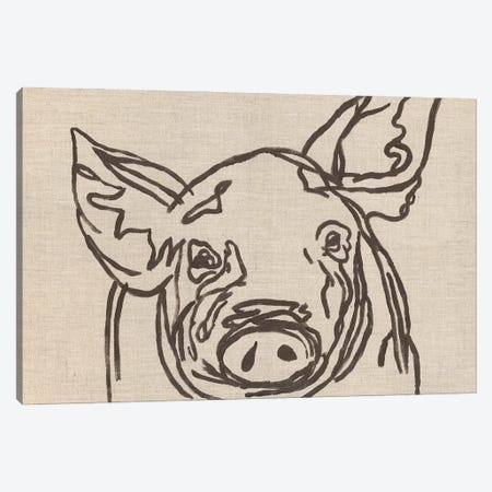 Farm Sketch Pig Canvas Print #KLB10} by Kathleen Bryan Canvas Art Print