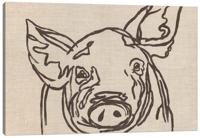 Farm Sketch Pig Canvas Art Print