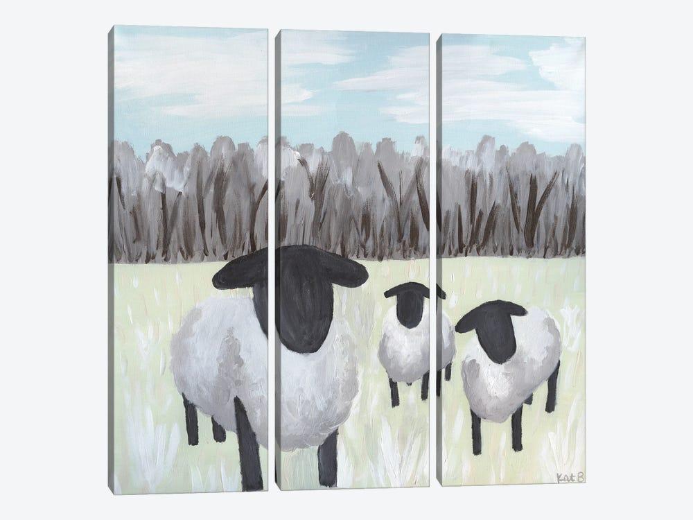 Paint Splotch Sheep by Kathleen Bryan 3-piece Canvas Print