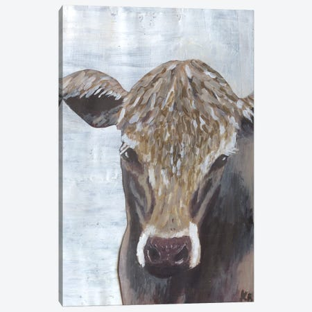 Brown Cow Canvas Print #KLB1} by Kathleen Bryan Canvas Wall Art