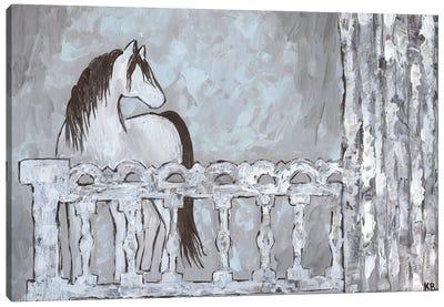 Farm Sketch Horse Stable Canvas Art Print
