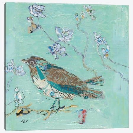 Aqua Bird with Teal Canvas Print #KLD3} by Kellie Day Canvas Art