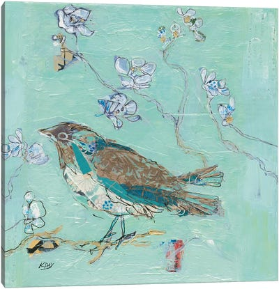 Aqua Bird with Teal Canvas Art Print
