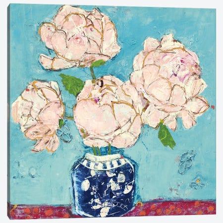 Vase of Peonies Aqua Coral Canvas Print #KLD6} by Kellie Day Art Print