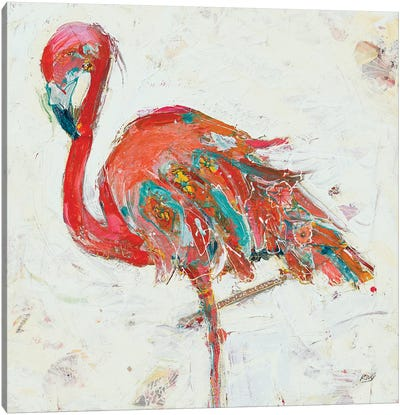 Flamingo on White Canvas Art Print