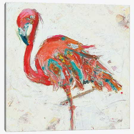 Flamingo on White Canvas Print #KLD7} by Kellie Day Art Print