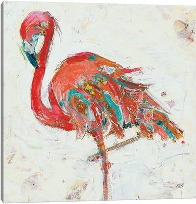 Flamingo on White Canvas Art Print