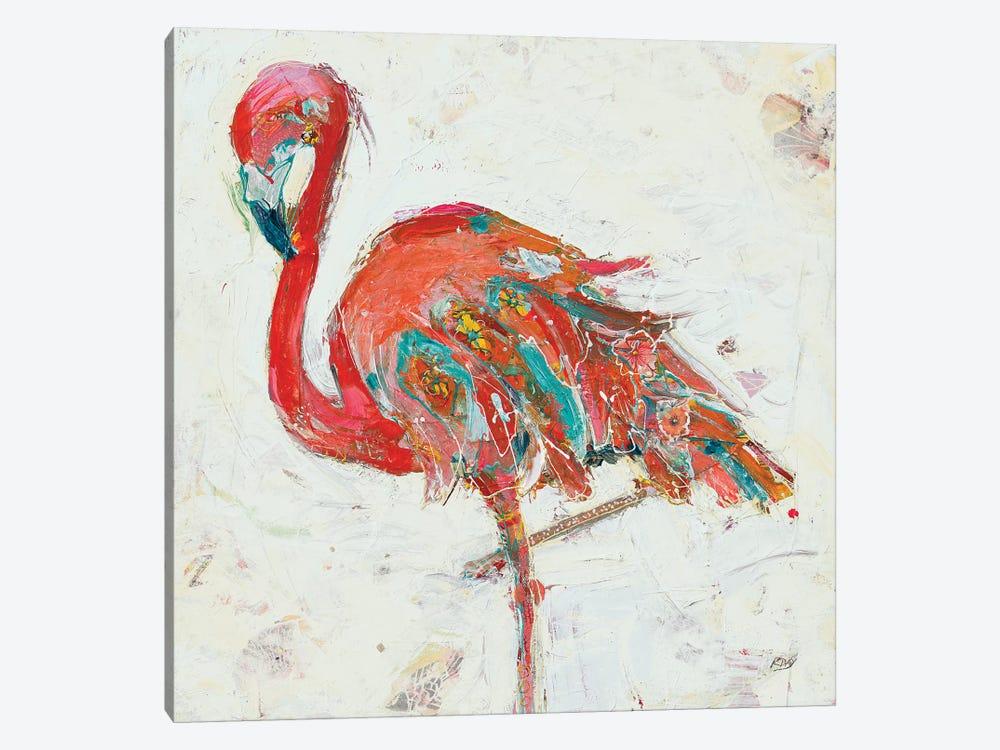 Flamingo on White by Kellie Day 1-piece Canvas Print