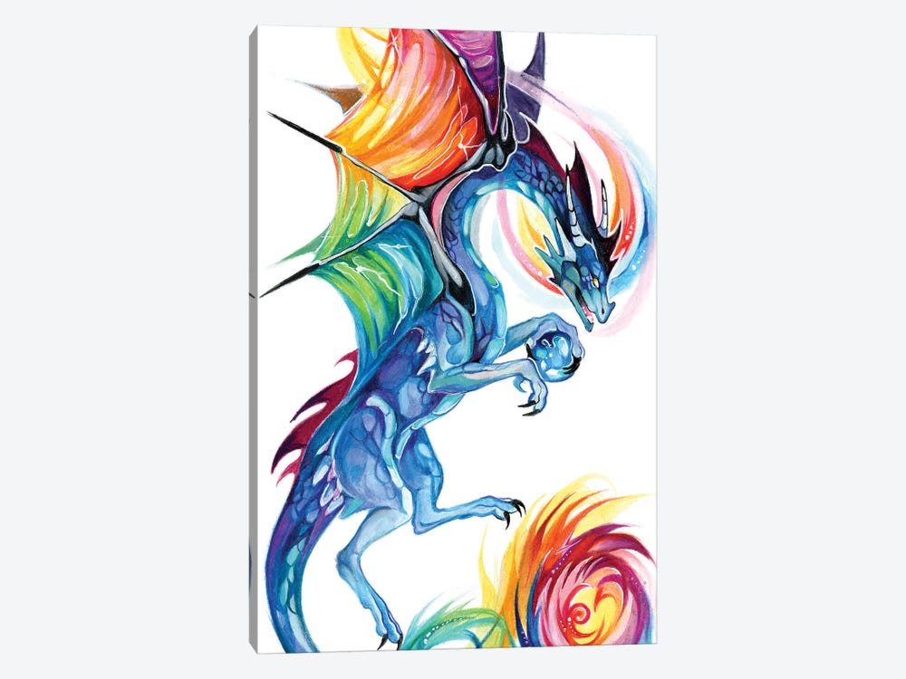 Rainbow Dragon Flight by Katy Lipscomb 1-piece Canvas Wall Art