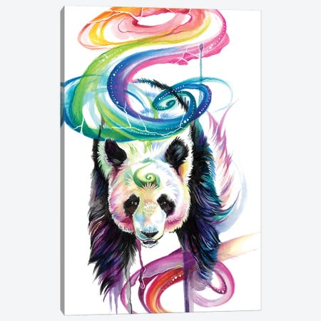Rainbow Panda Canvas Print #KLI108} by Katy Lipscomb Canvas Art