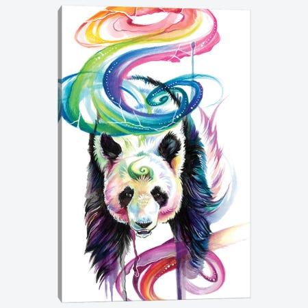 Rainbow Panda Canvas Print #KLI108} by Katy Lipscomb Canvas Art