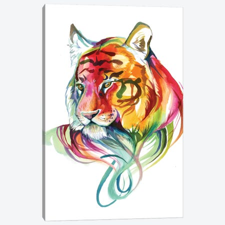Rainbow Tiger Bust Canvas Print #KLI112} by Katy Lipscomb Canvas Print