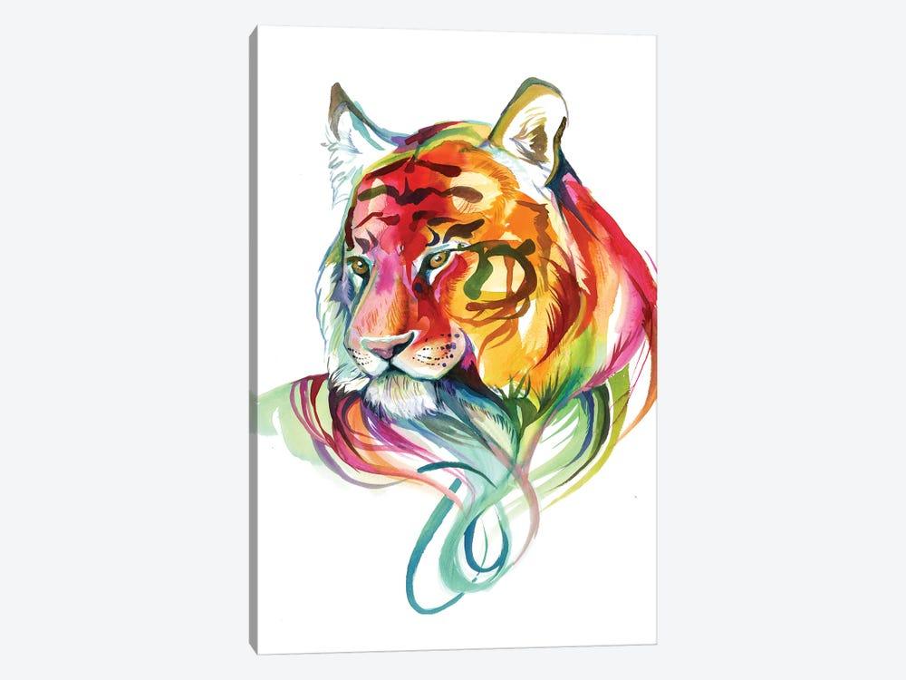 Rainbow Tiger Bust by Katy Lipscomb 1-piece Canvas Art Print