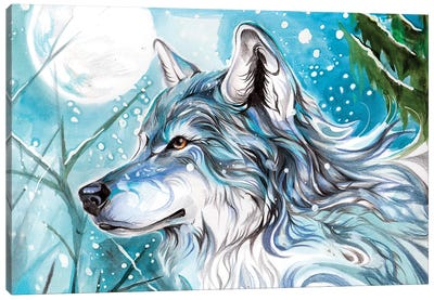 Blue Winter Wolf Canvas Art Print