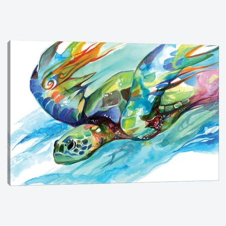 Sea Turtle Canvas Print #KLI122} by Katy Lipscomb Canvas Wall Art