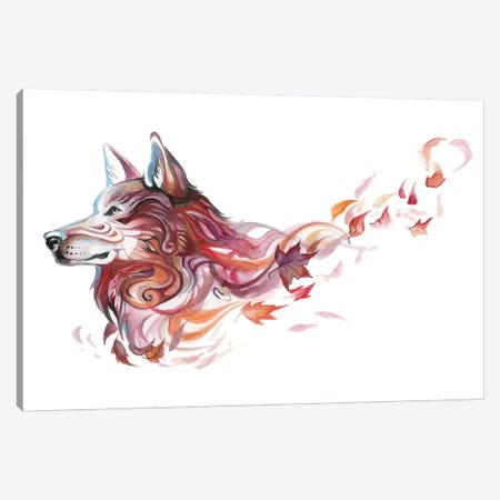 Season Wolf - Autumn Canvas Print #KLI124} by Katy Lipscomb Art Print