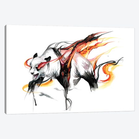 Burning Panda Canvas Print #KLI12} by Katy Lipscomb Canvas Wall Art