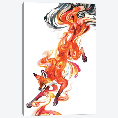Smoke Fox Canvas Print #KLI131} by Katy Lipscomb Canvas Art Print