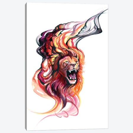 Smokey Lion Canvas Print #KLI132} by Katy Lipscomb Canvas Art Print
