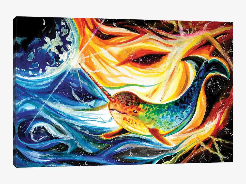 Space Narwhal by Katy Lipscomb 1-piece Canvas Art Print