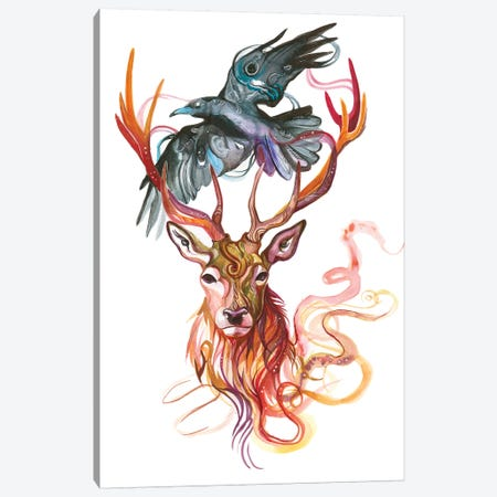 Stag and Crow Canvas Print #KLI143} by Katy Lipscomb Canvas Artwork