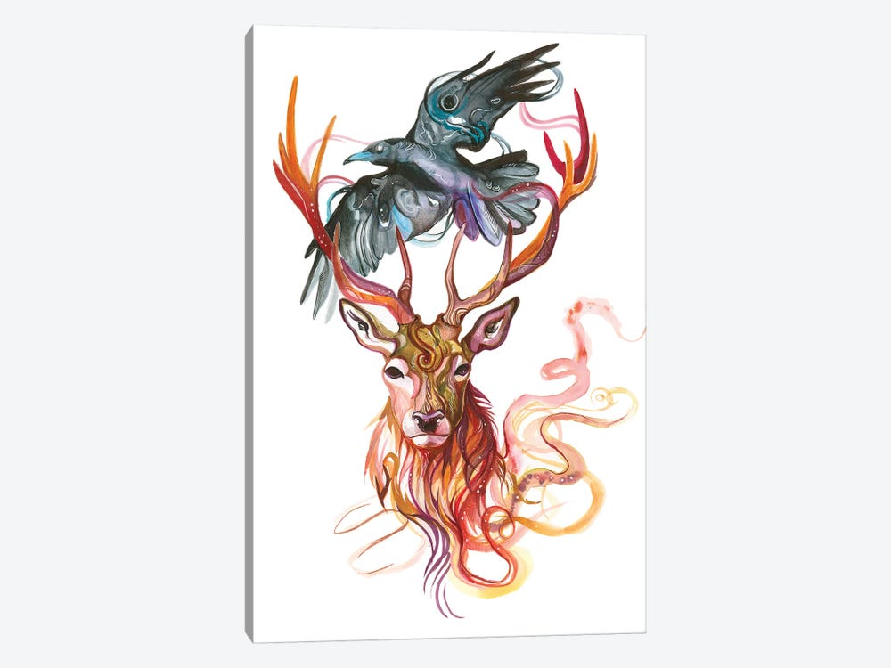 Stag and Crow by Katy Lipscomb 1-piece Canvas Art Print