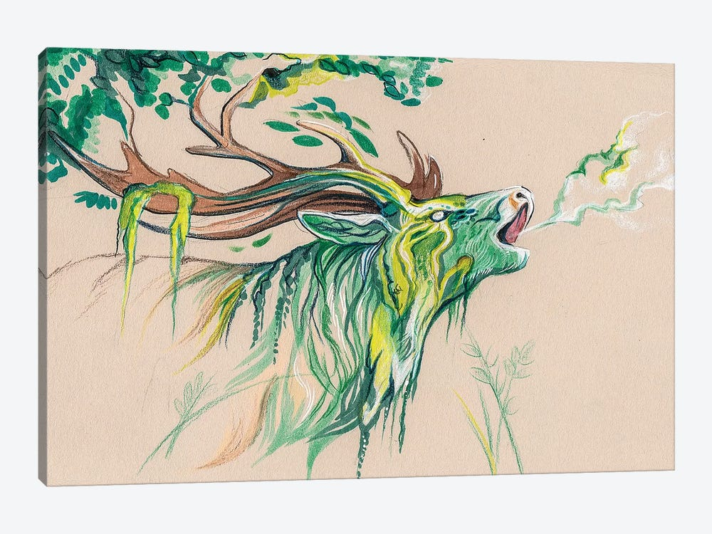 Stag Forest Spirit by Katy Lipscomb 1-piece Canvas Art