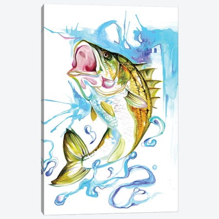 Striped Bass Canvas Print #KLI146} by Katy Lipscomb Art Print