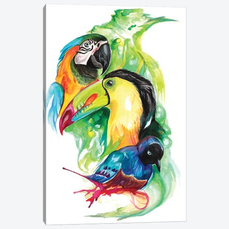 Tropical Birds Canvas Print #KLI149} by Katy Lipscomb Canvas Artwork