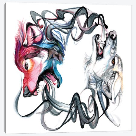 Wolf Spiral Canvas Print #KLI155} by Katy Lipscomb Canvas Art