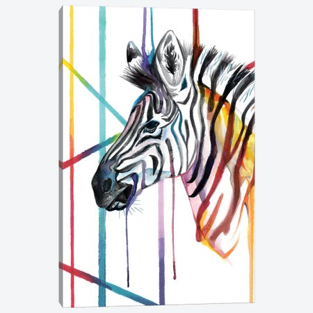 Zebra Canvas Print #KLI158} by Katy Lipscomb Art Print