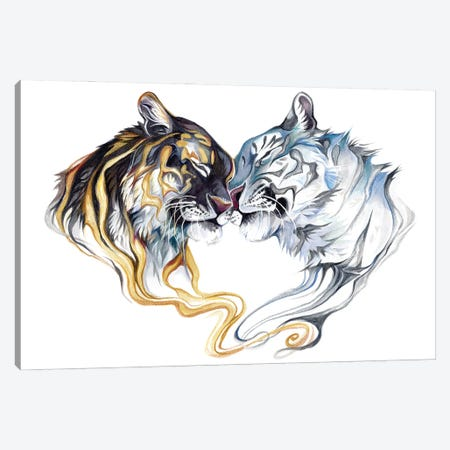 Duality Tigers Canvas Print #KLI163} by Katy Lipscomb Canvas Art