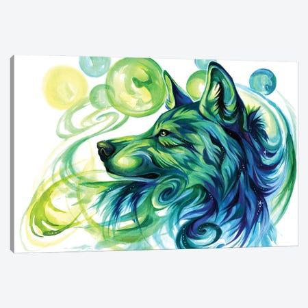 Emerald Green Wolf Canvas Print #KLI166} by Katy Lipscomb Canvas Print