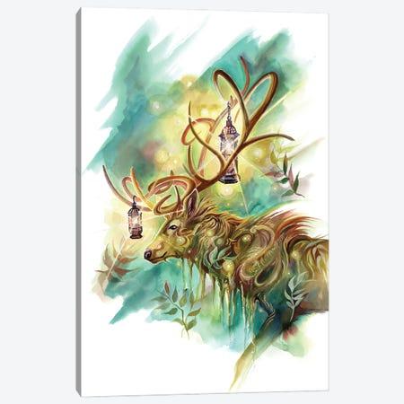 Lantern Stag Spirit Canvas Print #KLI173} by Katy Lipscomb Art Print