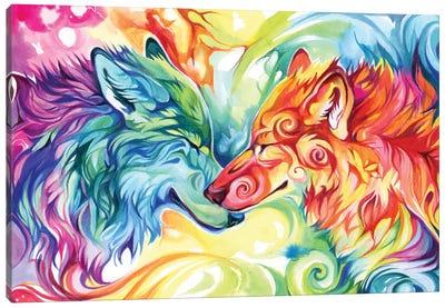 Watercolor Wolves Canvas Art Print