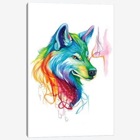 Colorful Wolf Canvas Print #KLI21} by Katy Lipscomb Art Print