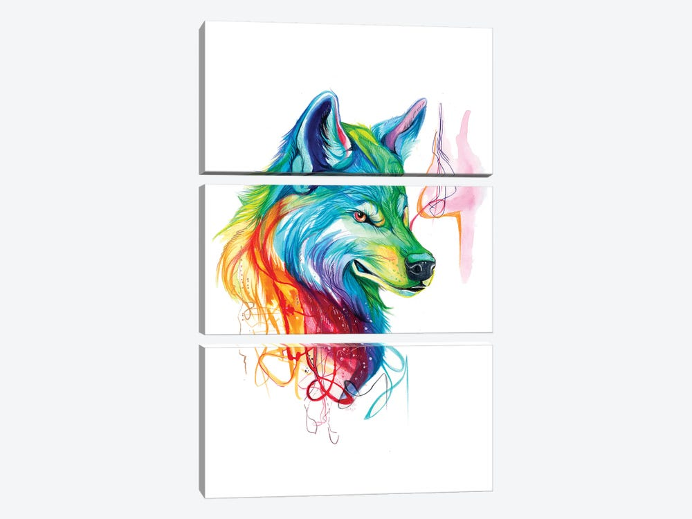 Colorful Wolf by Katy Lipscomb 3-piece Canvas Artwork