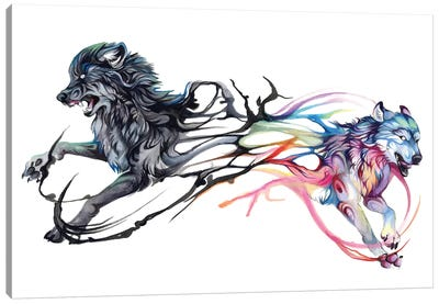 Double-Wolf Canvas Art Print