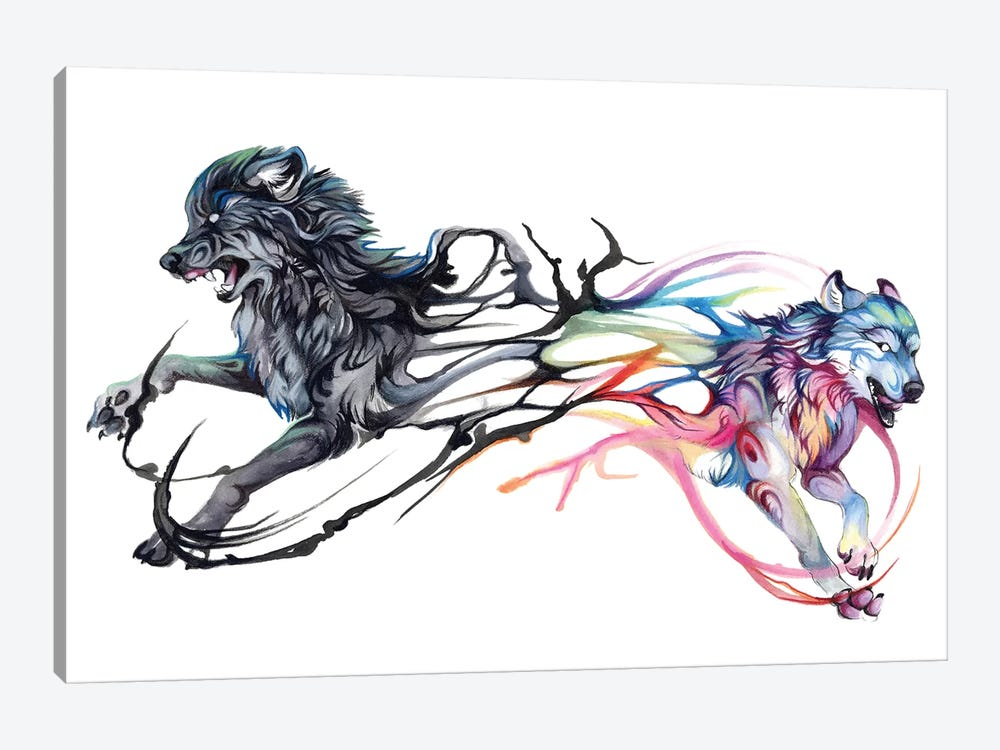 Double-Wolf by Katy Lipscomb 1-piece Canvas Print