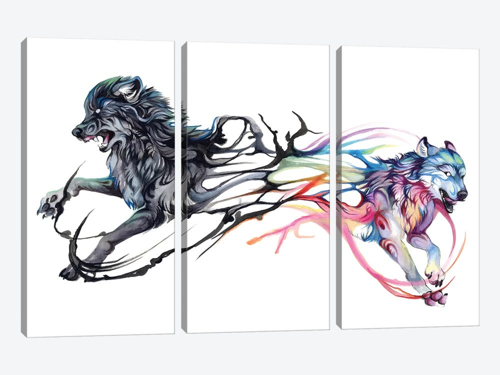 Double-Wolf by Katy Lipscomb 3-piece Canvas Art Print