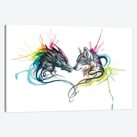 Dragon Wolf Splash Canvas Print #KLI31} by Katy Lipscomb Canvas Art
