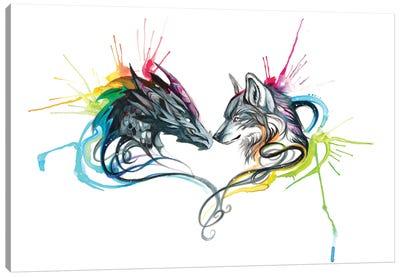 Dragon Wolf Splash Canvas Art Print