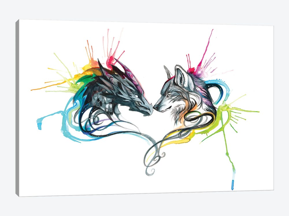 Dragon Wolf Splash by Katy Lipscomb 1-piece Canvas Print