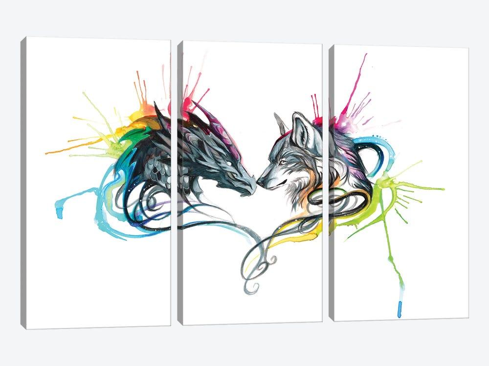 Dragon Wolf Splash by Katy Lipscomb 3-piece Art Print