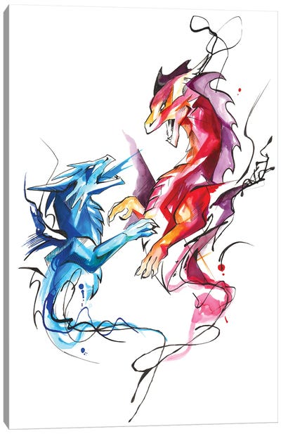Dueling Dragons Canvas Art Print