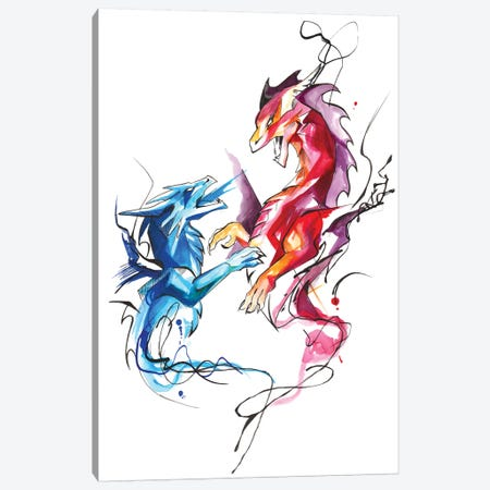 Dueling Dragons Canvas Print #KLI36} by Katy Lipscomb Canvas Art Print