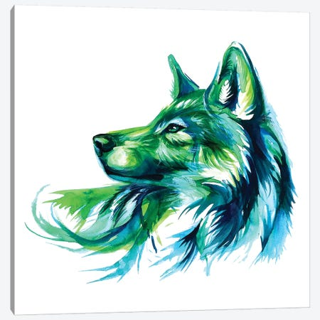 Emerald Wolf Canvas Print #KLI42} by Katy Lipscomb Art Print