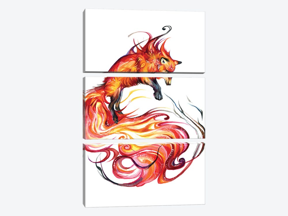 Fire Galaxy Fox by Katy Lipscomb 3-piece Canvas Print